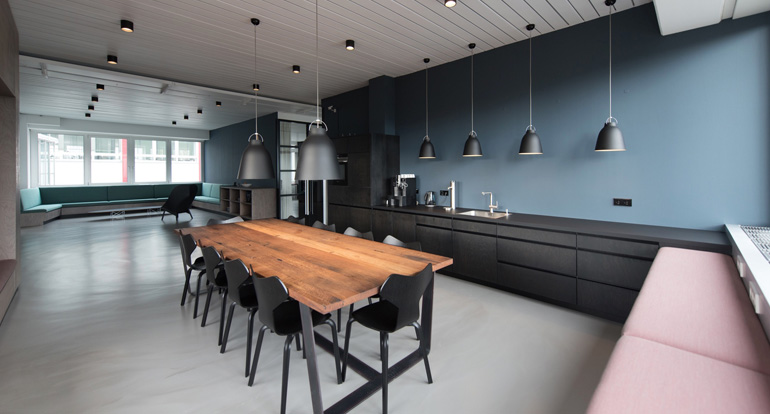 simplistic modern kitchen and dining area
